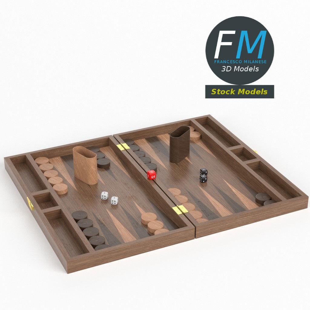 Backgammon board game set 3D model | CGTrader