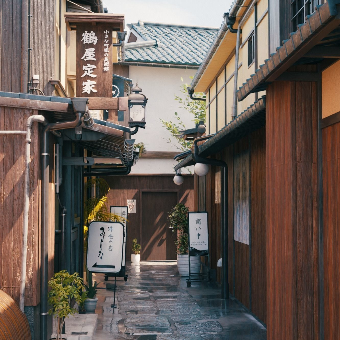 Blender Japan old alley with day-night and weather cycle