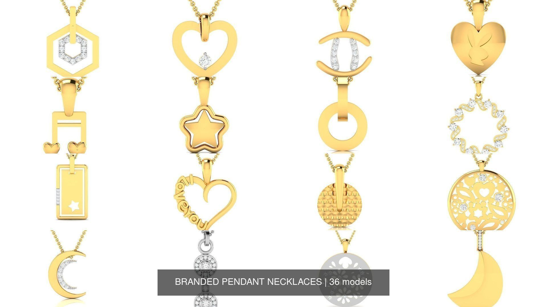 36 BRANDED PENDANT NECKLACES