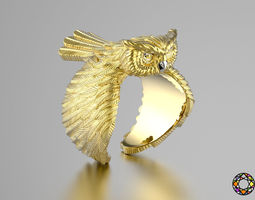 3D printable model Owl fashion ring 0156