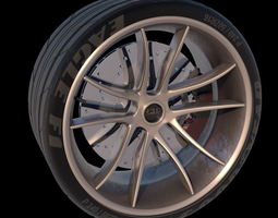 realtime 3d asset 5 spoke sports racing car tire and wheel