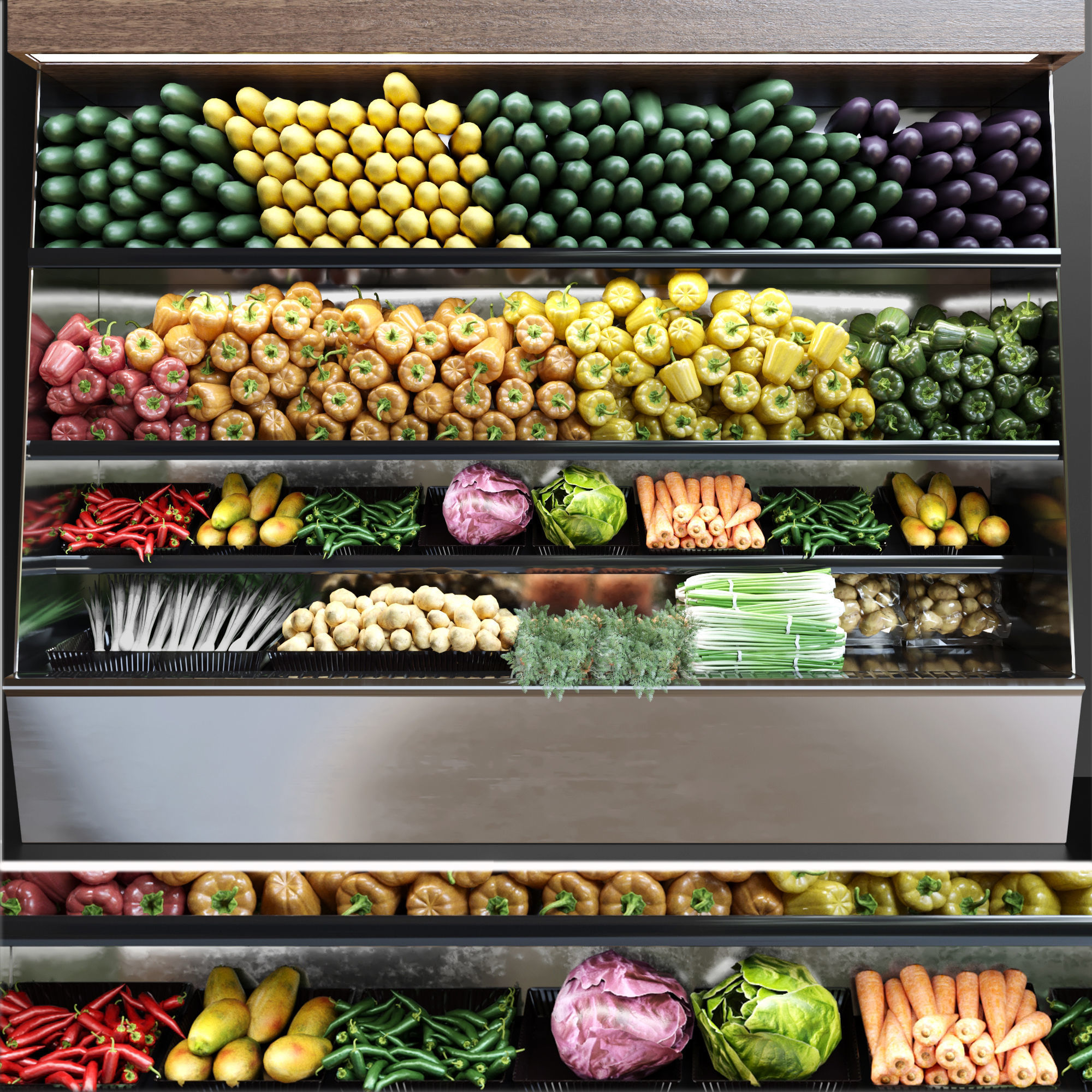 Showcase with vegetables
