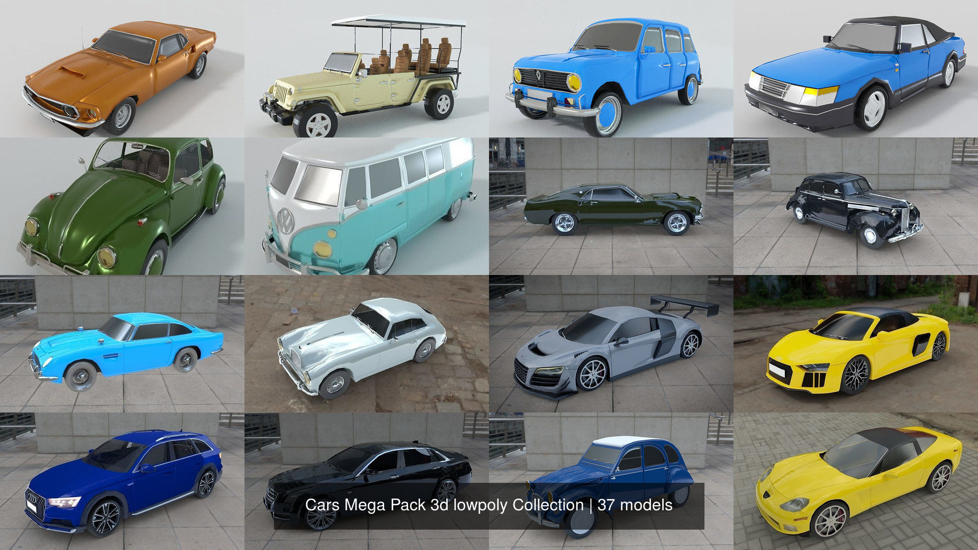 37 Cars Mega Pack 3d lowpoly Collection