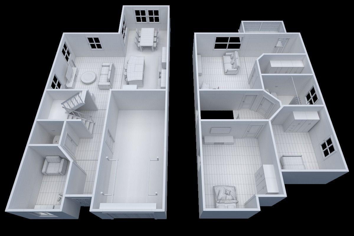 House Floor Plan Non Textured Version 3d Model Obj 3ds