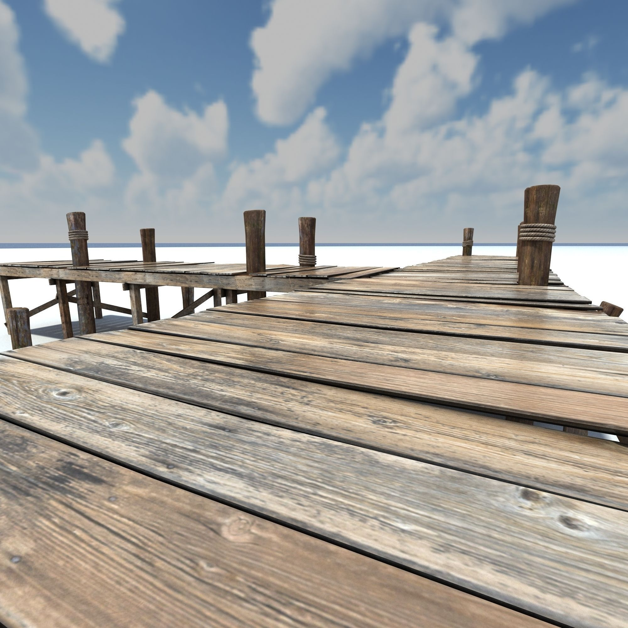 3D model Old wooden Bridge Low Poly VR / AR / low-poly MAX ...