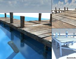 Old wooden Bridge Low Poly 3D model