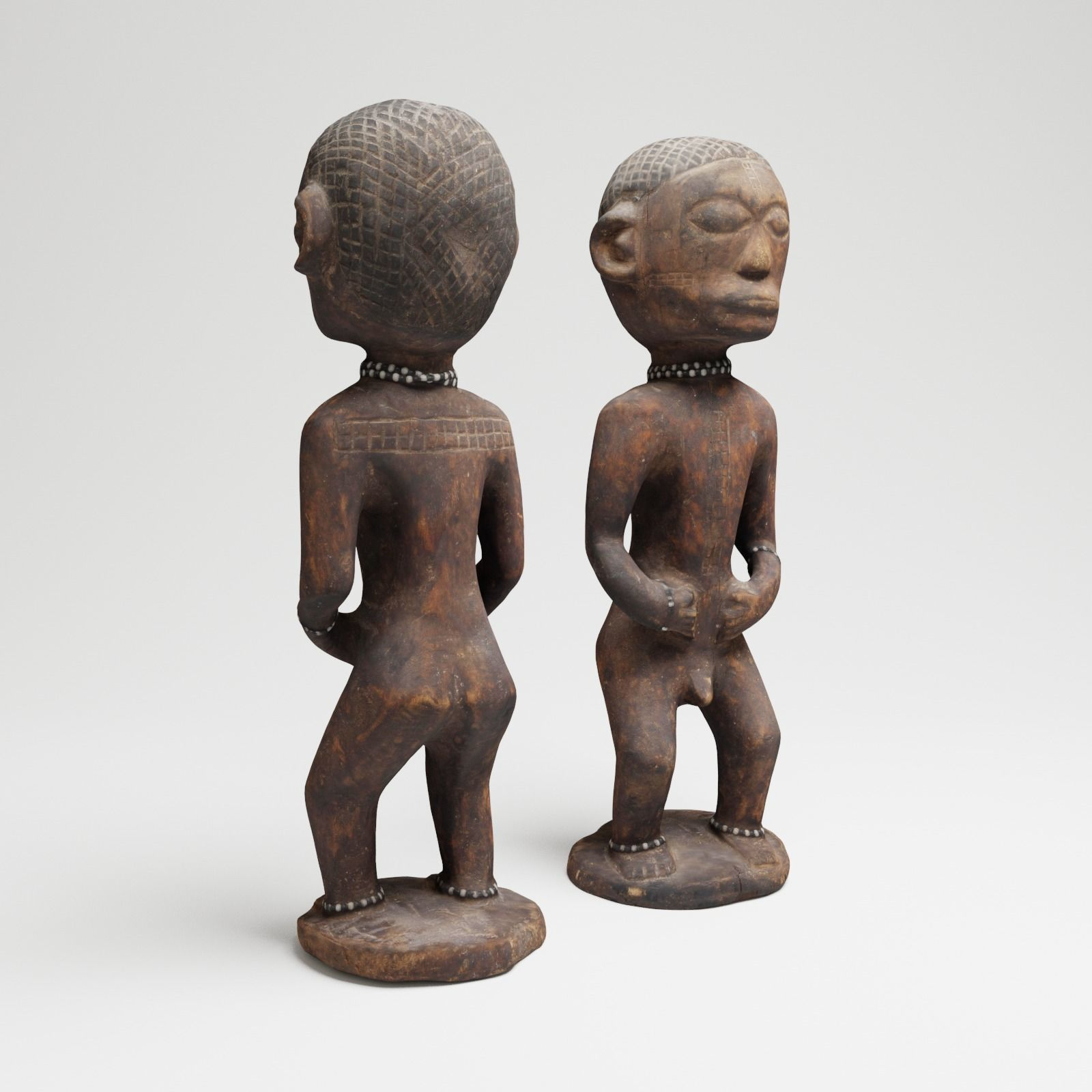 Ancient African Male Wood Sculpture from Uganda 3d scan
