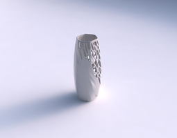 vase hexagon with organic lattice half solid 3d printable model