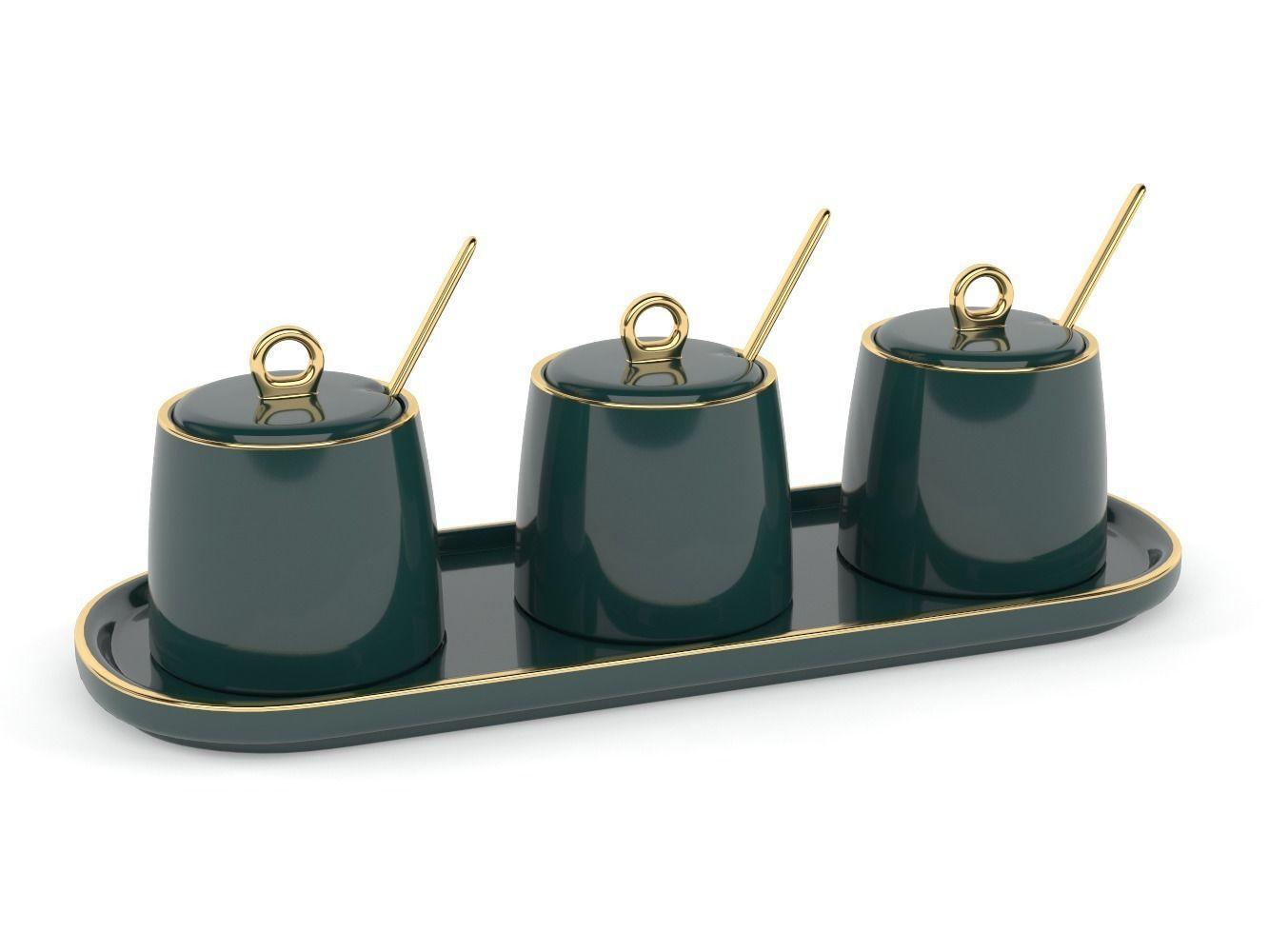 Green Ceramic Sugar Bowls