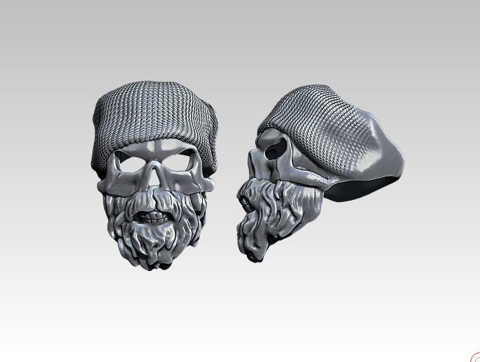Beard Fashion Man Skull ring Detailed HighPoly