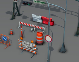 3d asset road objects pack - low poly game-ready