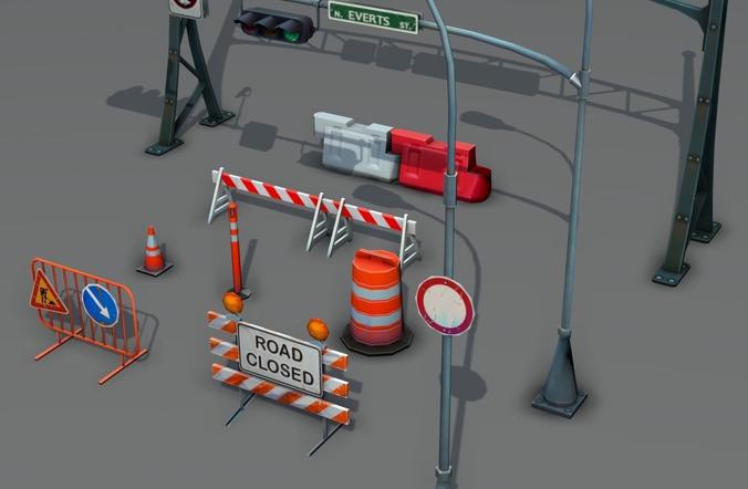 road objects pack - low poly 3d model low-poly max obj mtl fbx ma mb tga 1