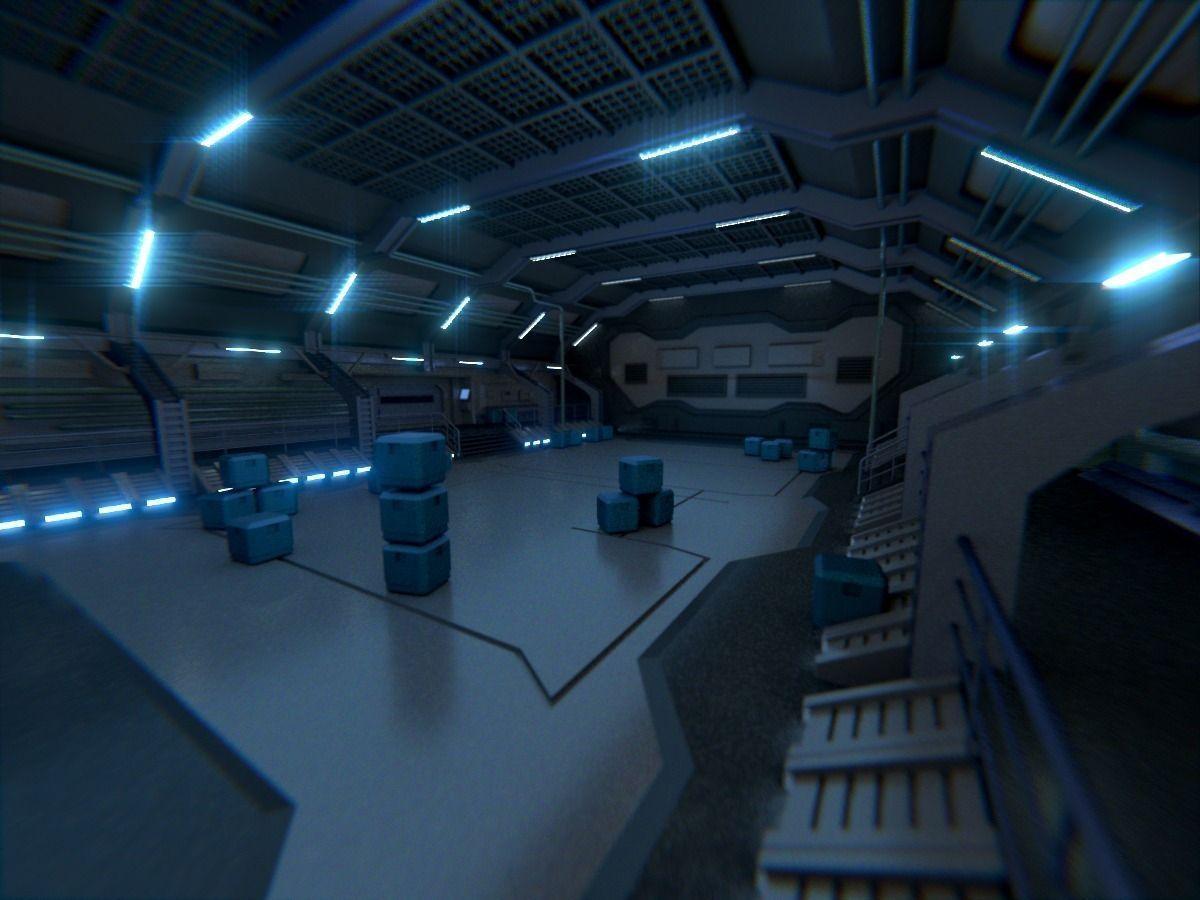 3d Model The Sci Fi Hangar Scene Cgtrader