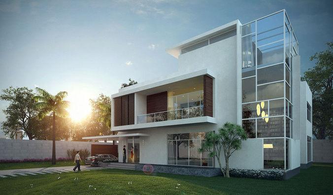 3d private villa exterior cgtrader - 3d max models free download exterior ...