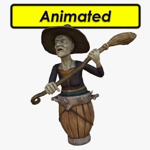 wicked witch 3d model low-poly rigged animated max fbx tga mat 1
