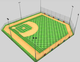 Baseball stadium pitch diamond low poly 3D asset