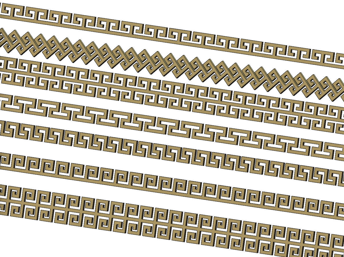 Meandre  Greek key pattern strips