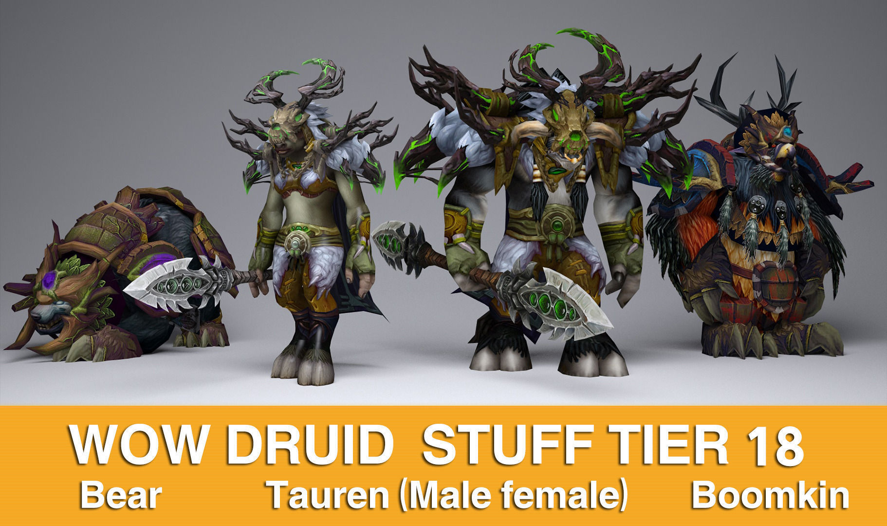 Wow druid Tauren T18 3D Model Game ready animated rigged .max - CGTrader.com