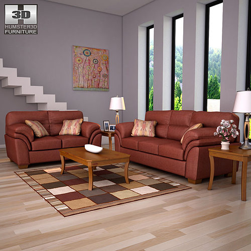 Ashley Living Room Set. Ashley Hudson Chianti Sofa Loveseat Living Room Set VR  AR low poly 3D model
