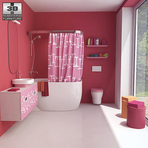 bathroom 07 set 3d model low-poly max obj 3ds fbx c4d lwo lw lws 1