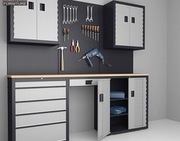 3D model Garage 03 Set Furniture and Tools