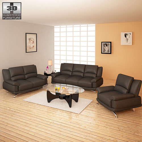 3d model living room furniture 09 set vr ar low poly for New model living room furniture