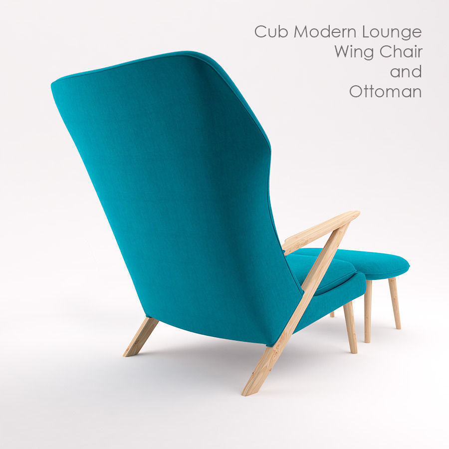 Cub Lounge Modern Wing Chair And Ottoman Free 3d Model Max