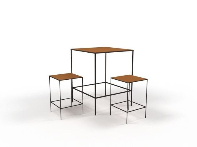 table and stools 3d model low-poly max 1