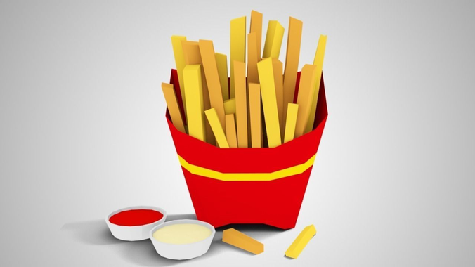 lowpoly french fries 3d model low-poly obj 3ds fbx blend 1