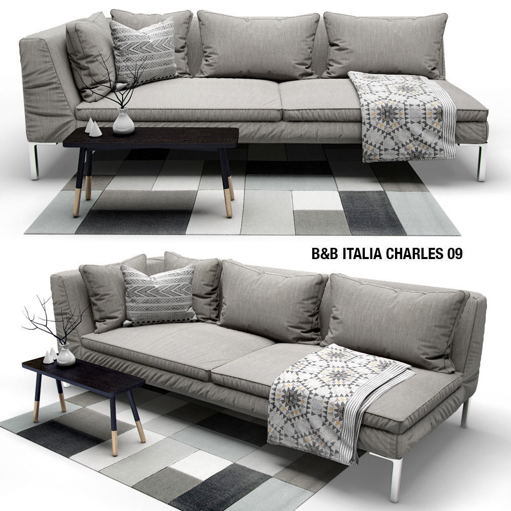 sofa b and b italia charles 3d model max obj fbx. Black Bedroom Furniture Sets. Home Design Ideas