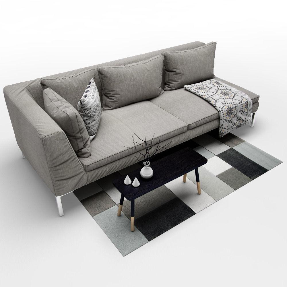 sofa b and b italia charles 3d model max obj fbx. Black Bedroom Furniture Sets. Home Design Ideas