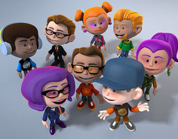 3d asset 8 animated cartoon characters game-ready
