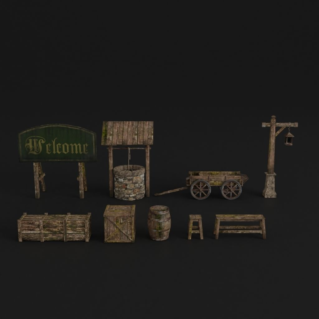 OLD MEDIEVAL PROPS ASSET AND GROUND TILEABLE