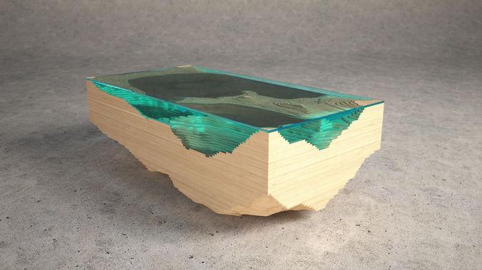 abyss glass table 3d model obj 3ds fbx c4d 1