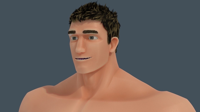 rigged muscle man character 2016 3d model rigged blend 1