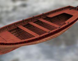 3d model boat yawl 6 oars low-poly