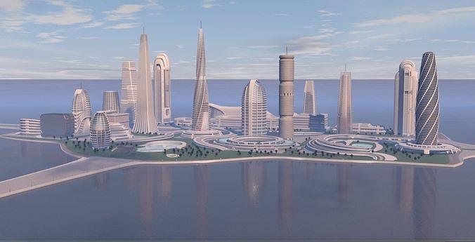 Futuristic city center