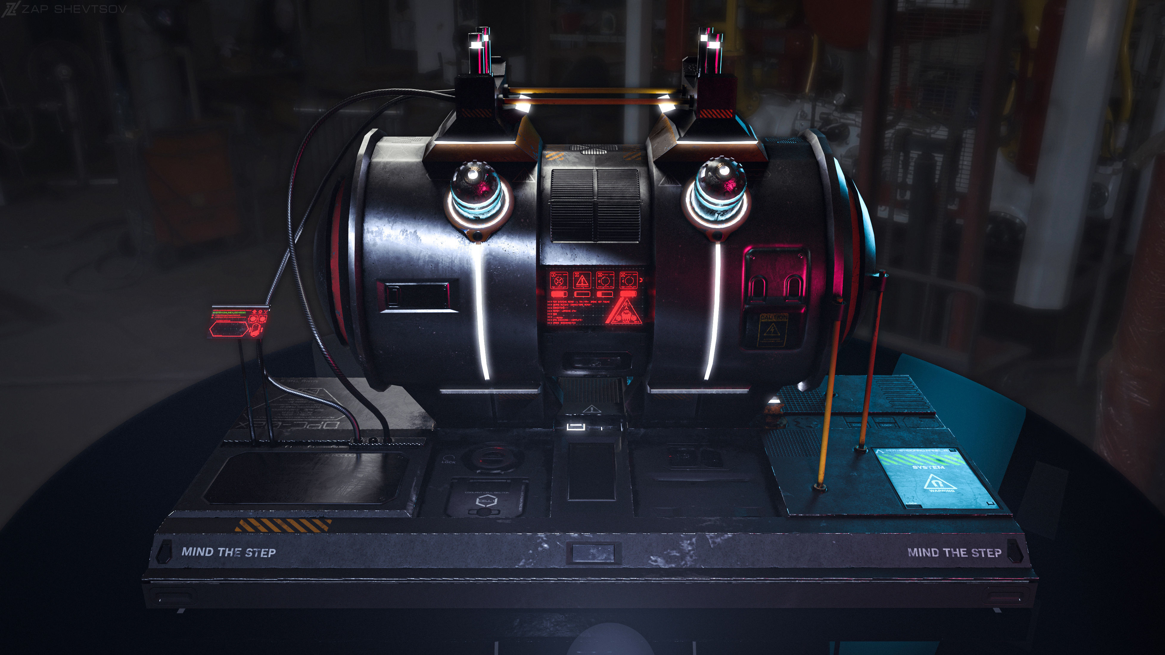 Sci-fi Cyberpunk fuel station for spaceships