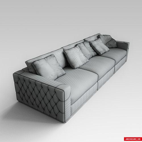 Fendi Sofa 3d Model Max Obj Fbx 8 .