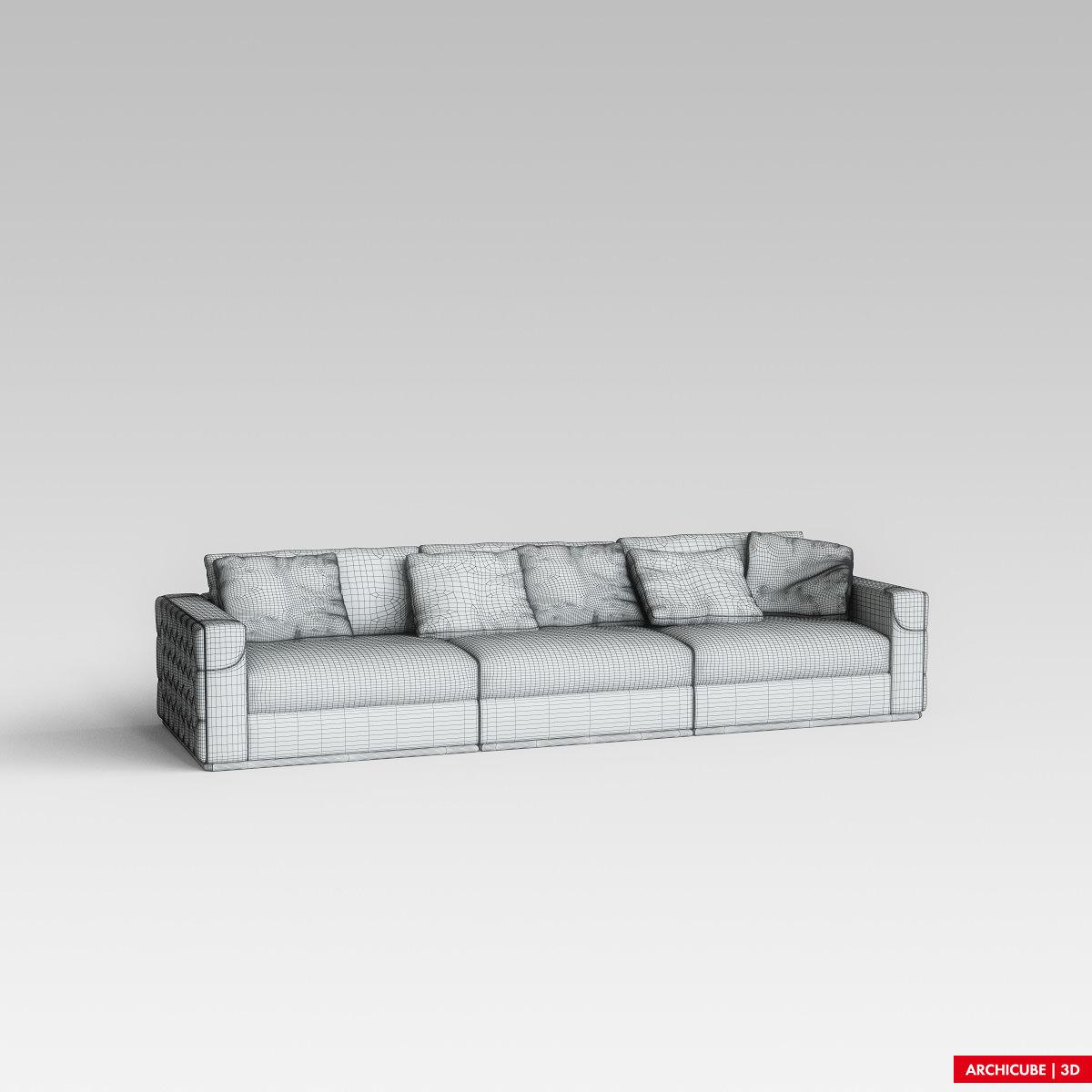 Fendi sofa 3d model max obj fbx for Divan furniture models