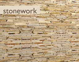 Stone wall slate 10 3D