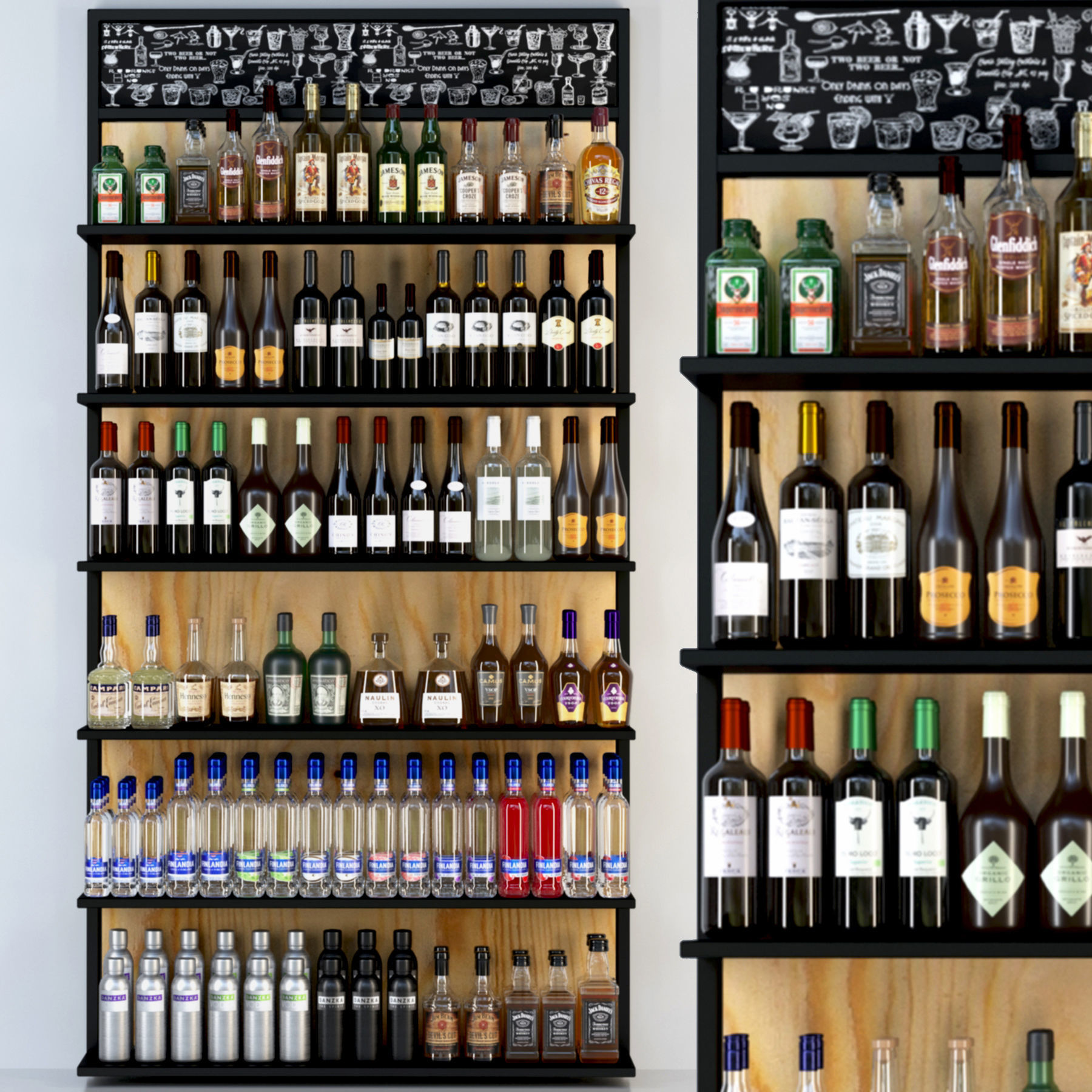 Rack with a large selection of alcohol
