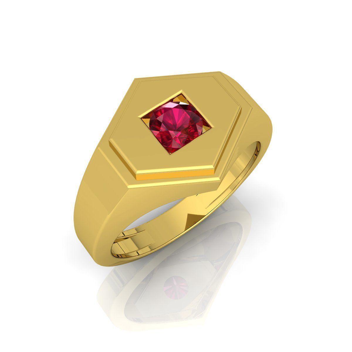 Ruby Stone Mens Ring