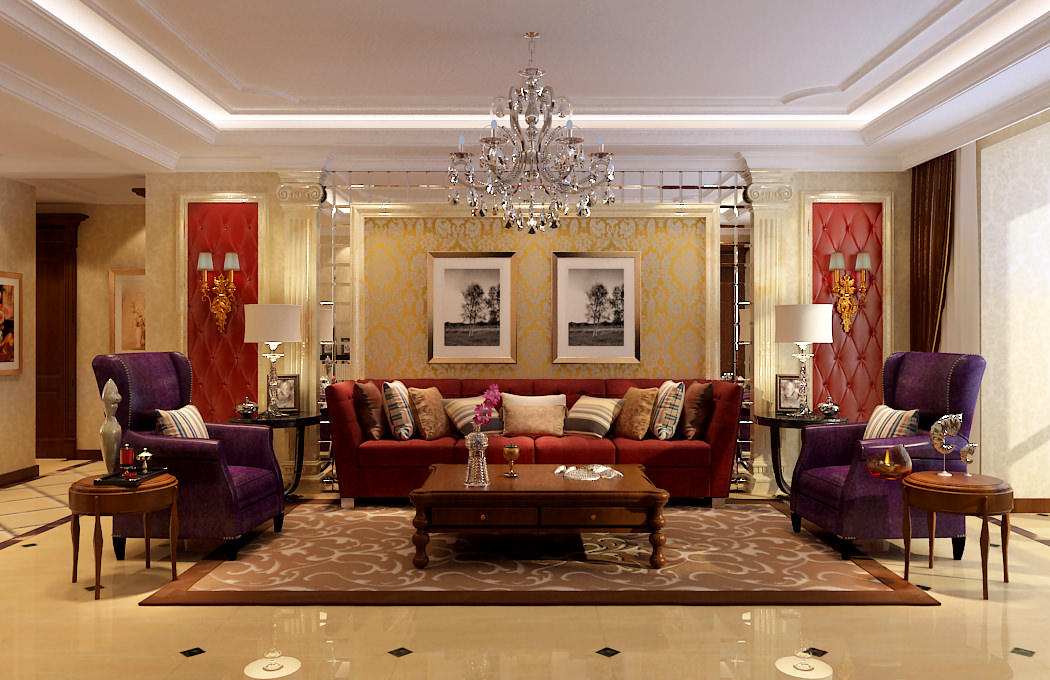 Fancy Living Room 3D Model Max