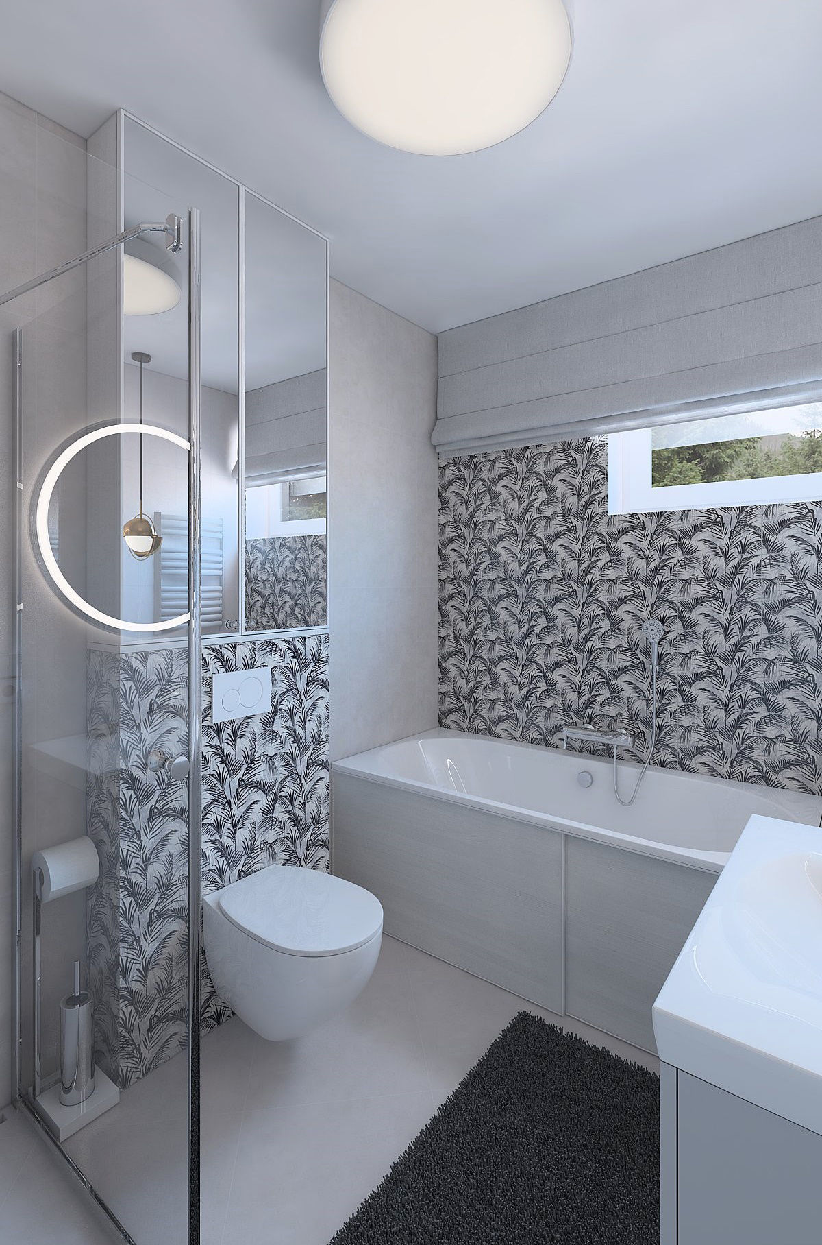 Great bathroom with decorative plant tiles 3D model