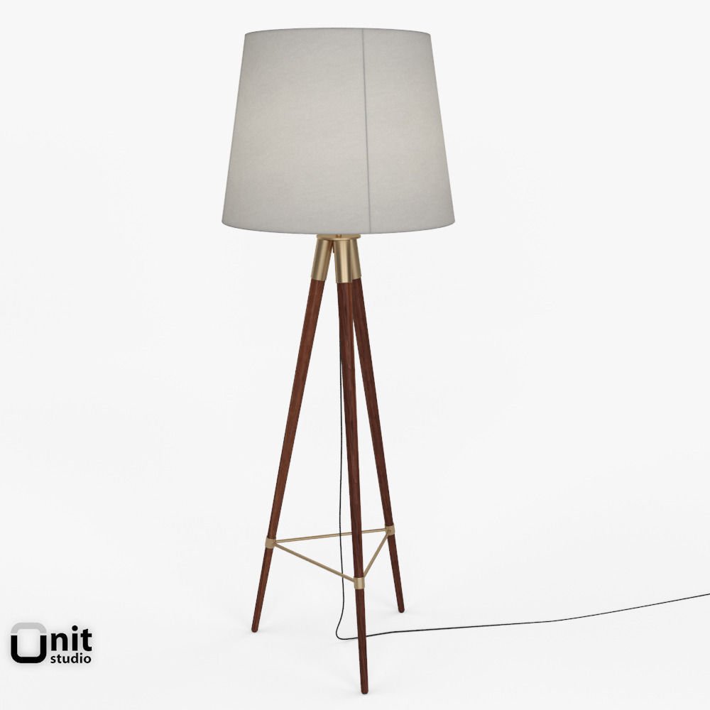 Wonderful Mid Century Tripod Floor Lamp By West Elm 3d Model Max Obj 3ds Fbx Dwg ...
