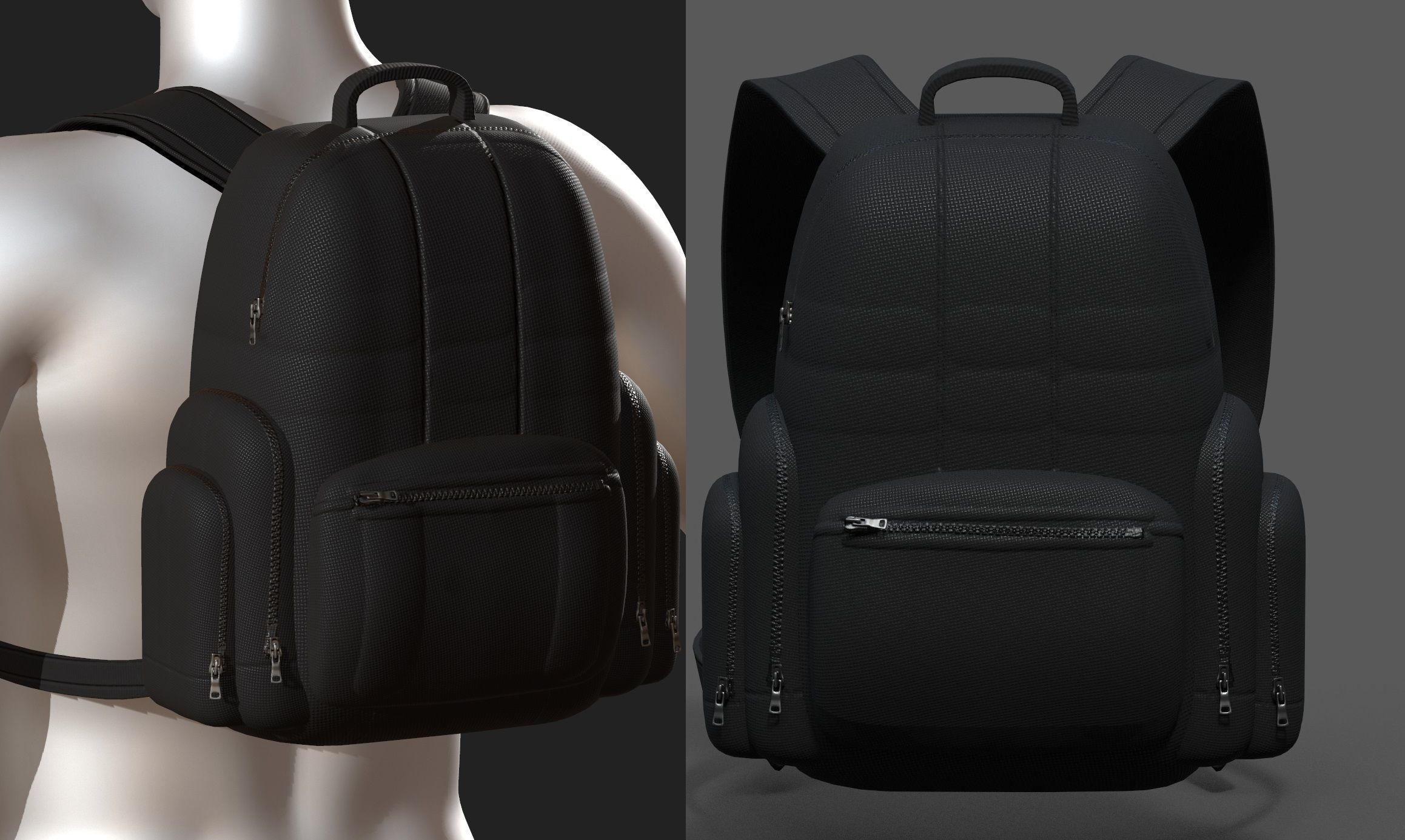 Backpack bag baggage Color 3d low poly Low-poly