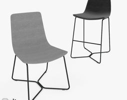 Slope Chair and Stool by West Elm 3D model