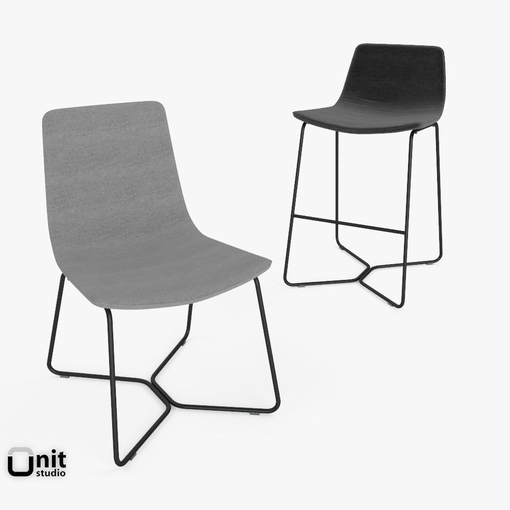 Slope Chair And Stool By West Elm Model Max Obj S Fbx 1