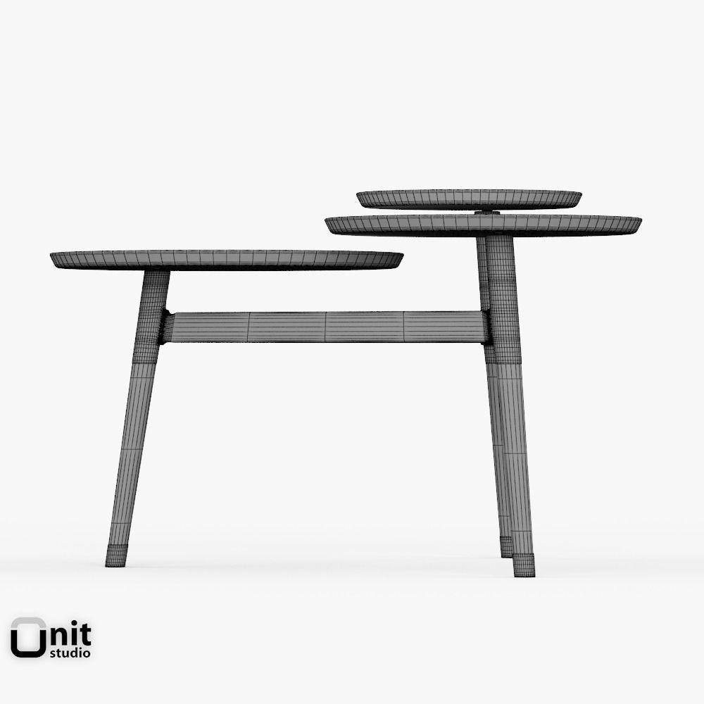 clover coffee tablewest elm 3d model max obj 3ds fbx dwg